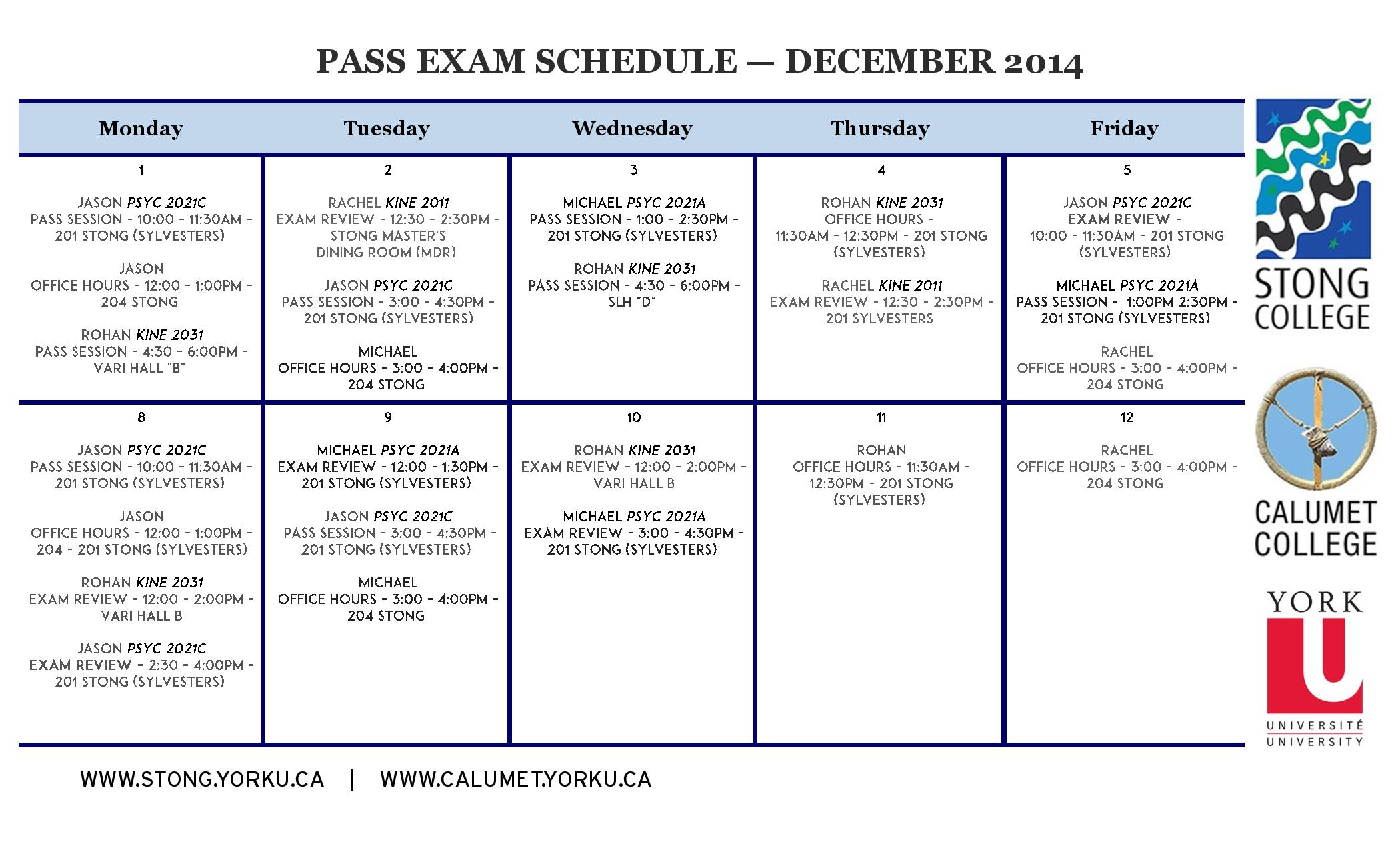 This is the PASS Schedule. Click to Enlarge.