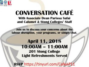 Conversation Cafe with Associate Dean Parissa Safai and Calumet & Stong Colleges' Staff @ 201 Stong College