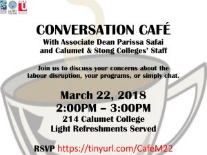 Conversation Cafe with Associate Dean Parissa Safai and Calumet & Stong Colleges' Staff @ 214 Calumet College