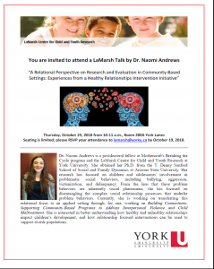 LaMarsh Talk by Dr. Naomi Andrews - A Relational Perspective on Research and Evaluation in Community-Based Settings:  Experiences from a Health Relationships Intervention Initiative @ 208A York Lanes
