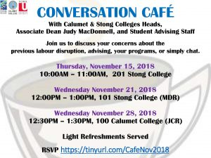 Conversation Cafe with Associate Dean Judy MacDonell, Calumet & Stong Colleges Staff and Advising Staff @ 101 Stong College (MDR)