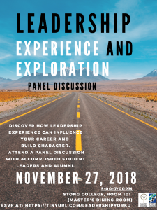 Leadership Experience and Exploration Panel @ 101 Stong College (MDR)