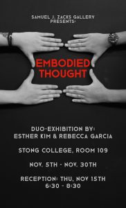"""Poster for """"Embodied Thoughts"""". By artists Esther Kim and Rebecca Garcia"""