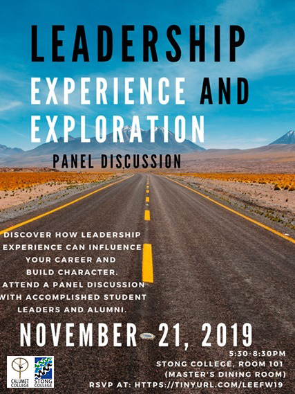 Leadership Experience and Exploration Panel @ oom 101(Master's Dining Room),Stong College