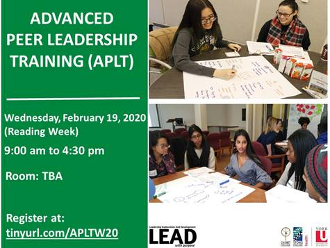 APLT- Advanced Peer Leadership Training @ TBA