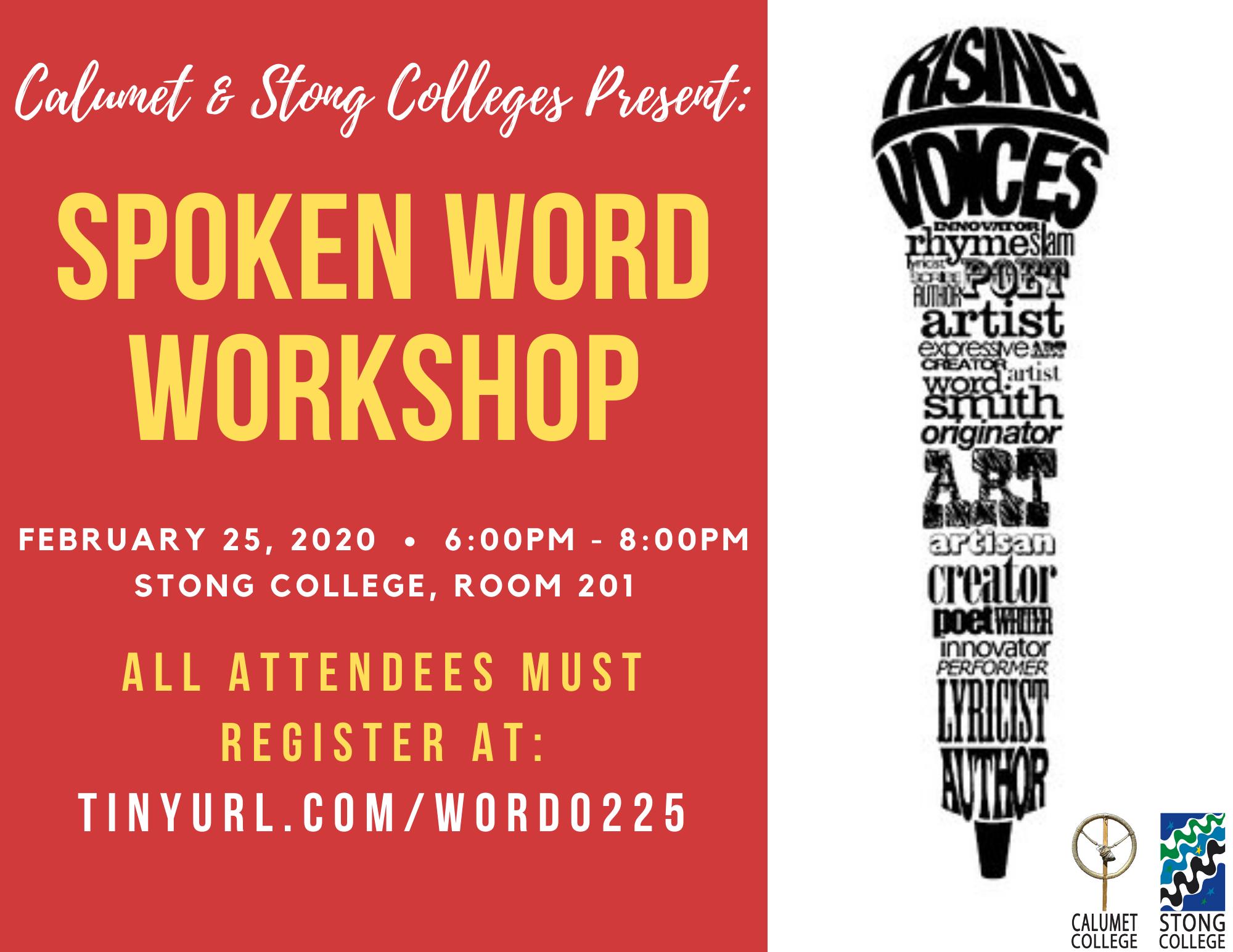 Spoken Word Workshop @ Stong College, Room 201