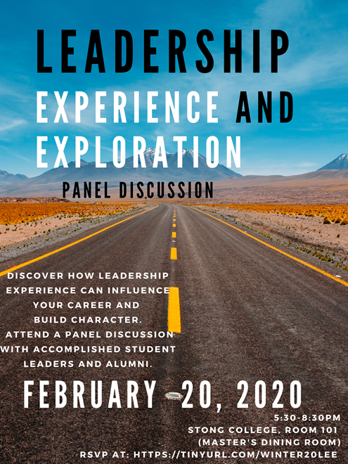 Leadership Experience and Exploration Panel @ Stong College Master's Dining Room (MDR)
