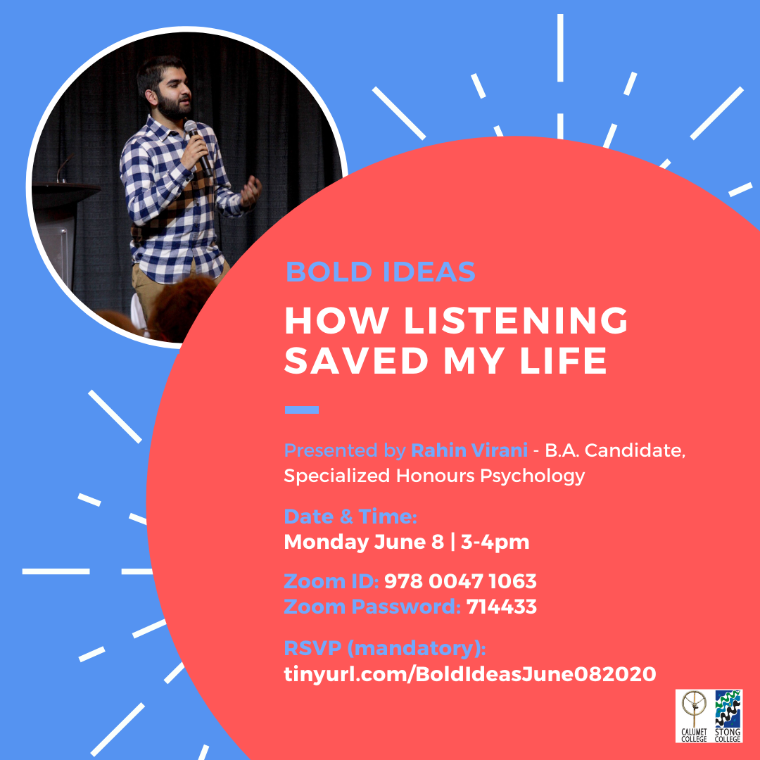 BOLD IDEAS: HOW LISTENING SAVED MY LIFE @ Zoom Meeting ID: 978 0047 1063