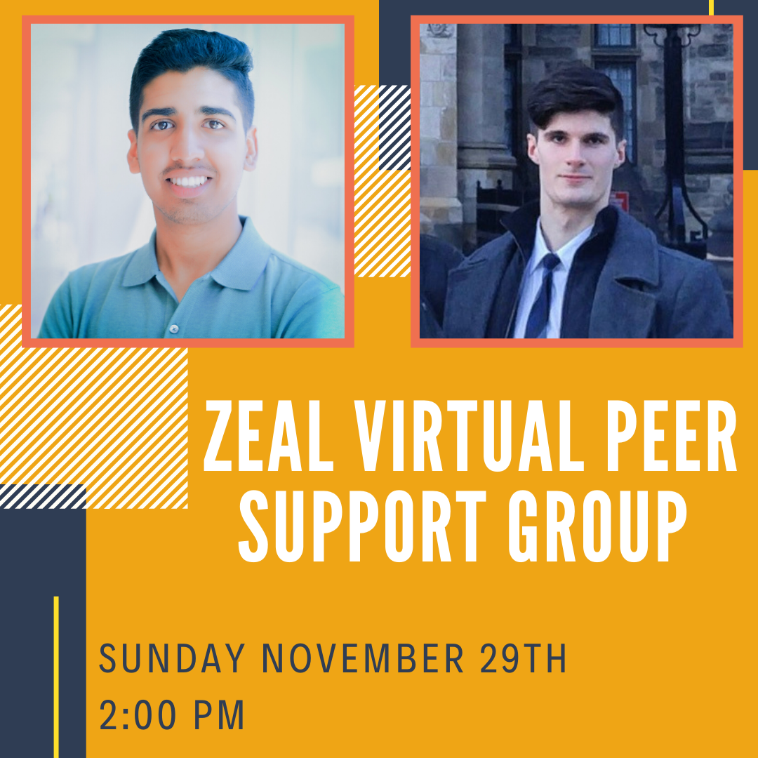 Zeal Virtual Peer Support Group poster