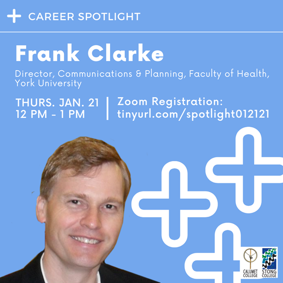Career Spotlight: Frank Clarke – Director, Communications & Planning, Faculty of Health, York University @ Zoom Meeting
