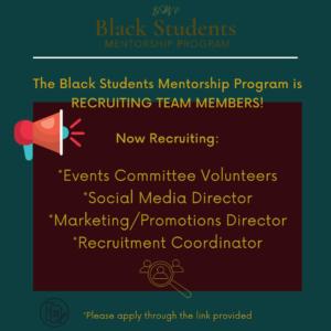 Deadline: BSMP is Recruiting Team Members
